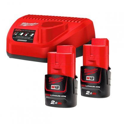 Kit 2 baterias M12B2 2.0AH e carregador C12C Milwaukee