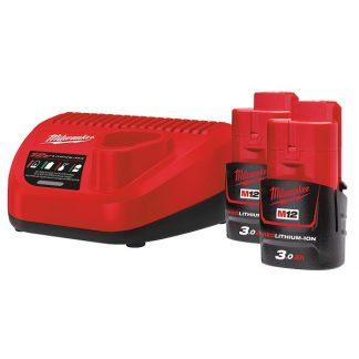 Kit 2 baterias M12B3 3.0AH e carregador C12C Milwaukee