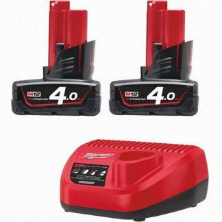 Kit 2 baterias M12B4 4.0AH e carregador C12C Milwaukee