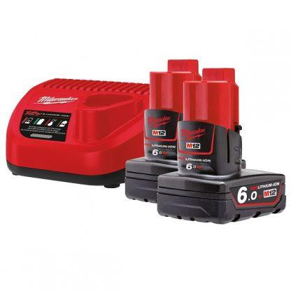 Kit 2 baterias M12B6 6.0AH e carregador C12C Milwaukee