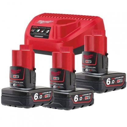 Kit 3 baterias M12B3 6.0AH e carregador C12C Milwaukee