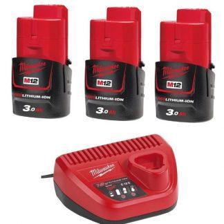 Kit 3 baterias M12B3 3.0AH e carregador C12C Milwaukee